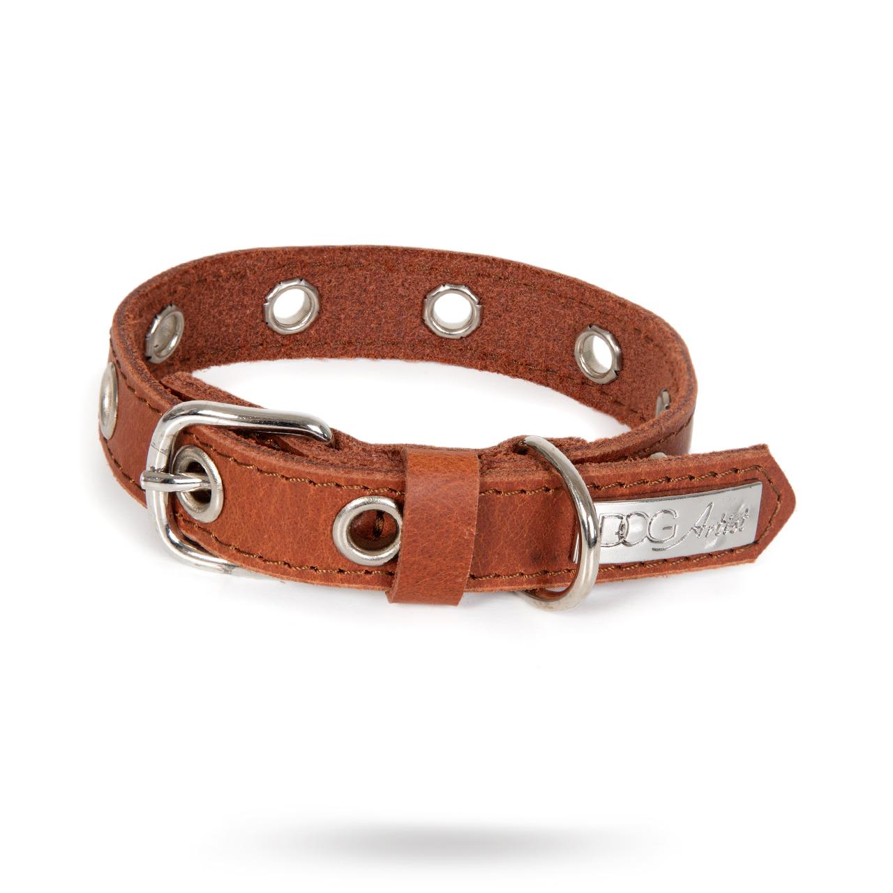 ROCK Brown - Läder Hundhalsband