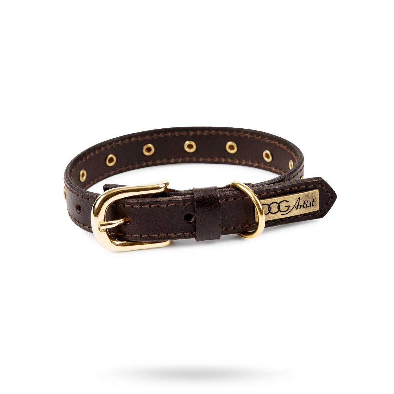RIVET Brown - Läder Hundhalsband