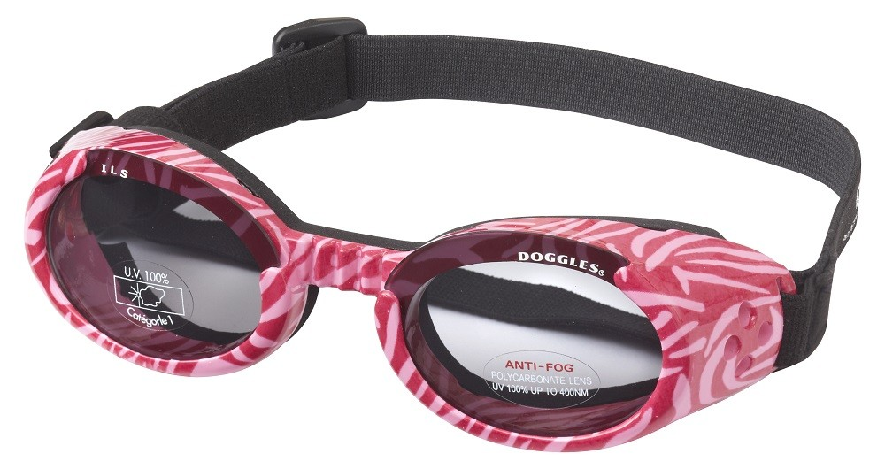 Hundglasögon ILS - Pink Zebra / Smoke Lens - Hundkläder