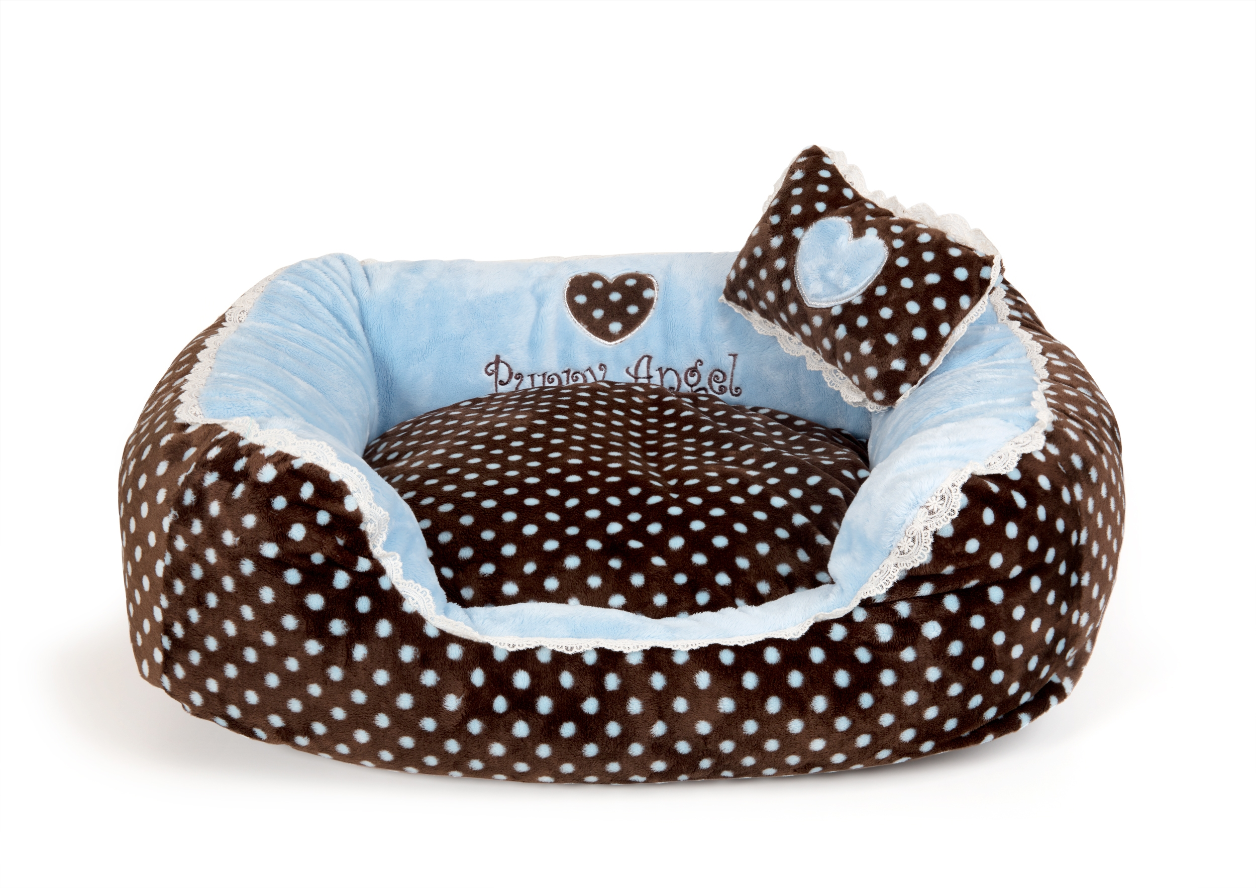 Soft Velour Polka Dimple Bed - Blue