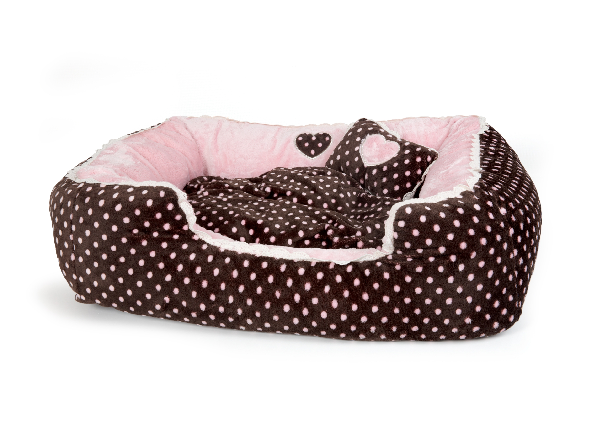 Soft Velour Polka Dimple Bed - Pink