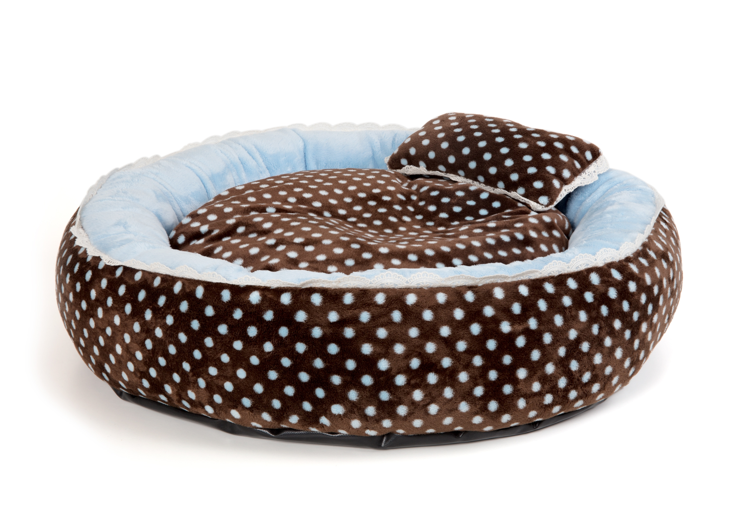SOFT VELOUR POLKA RING BED - Blue