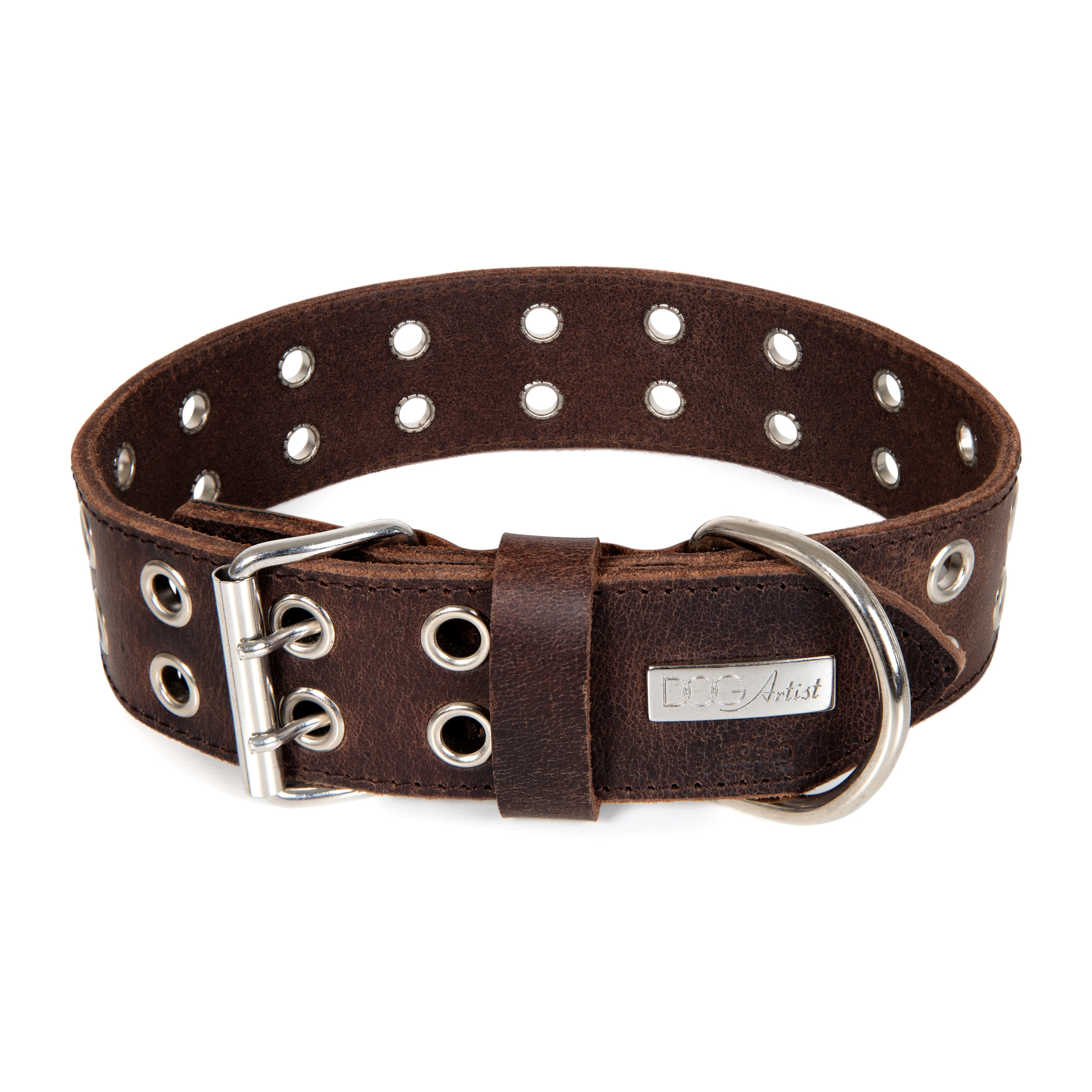 ROCK Dark Brown - Läder Hundhalsband