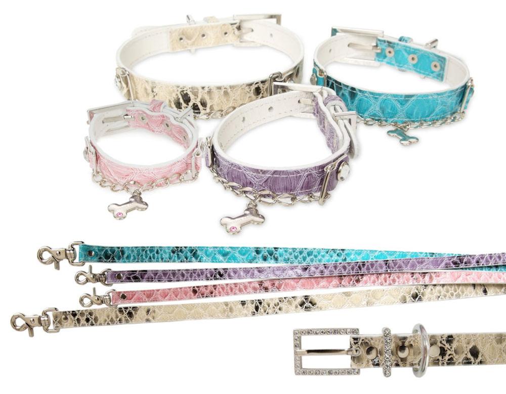 Royalty Halsband + Koppel - Rosa - XL