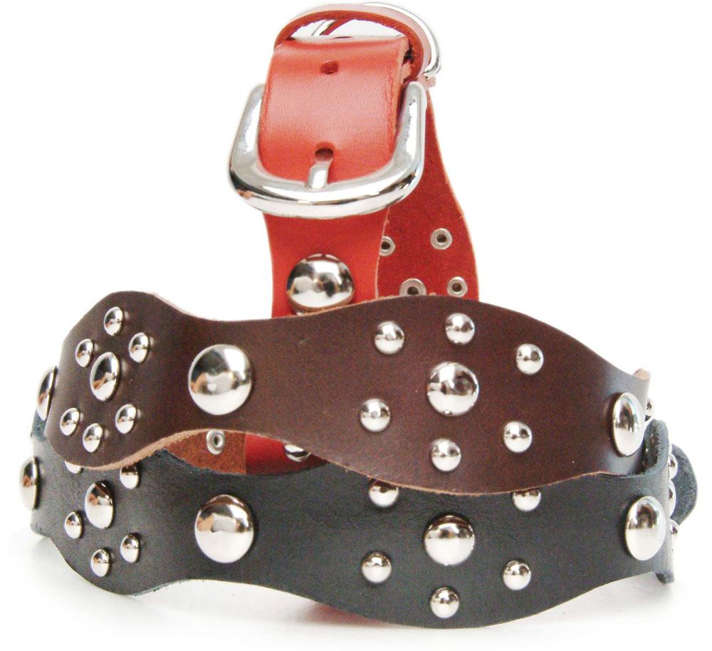 Silver Leather Collar - Brun