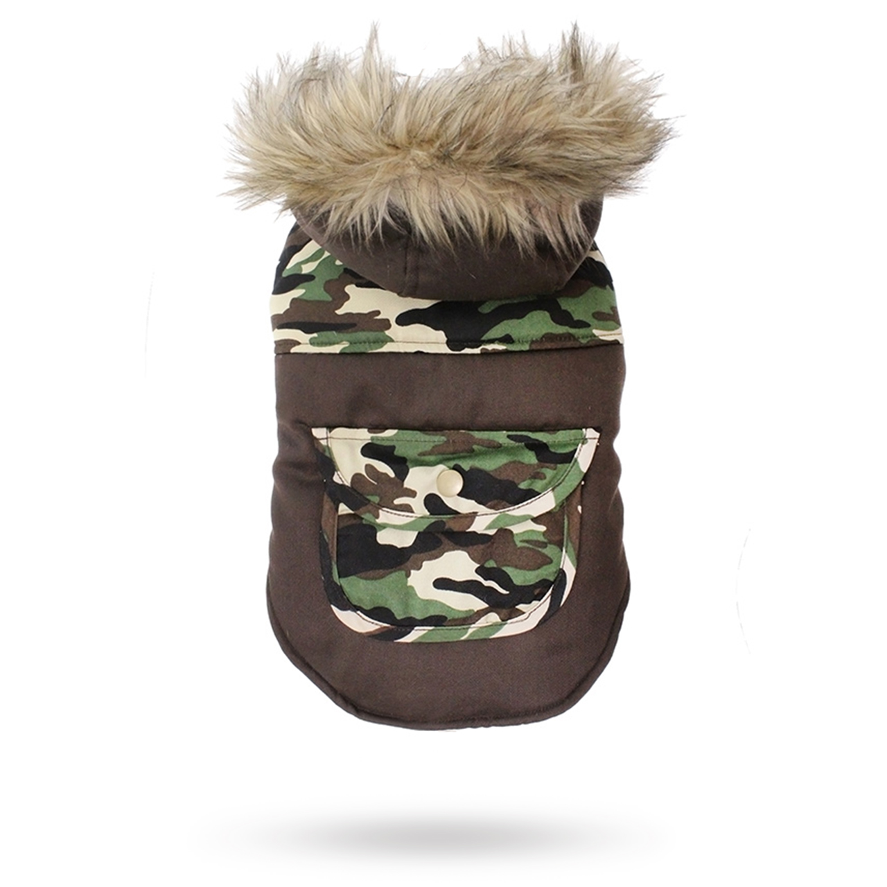 Two-Tone Camouflage Quilted Parka Hundjacka