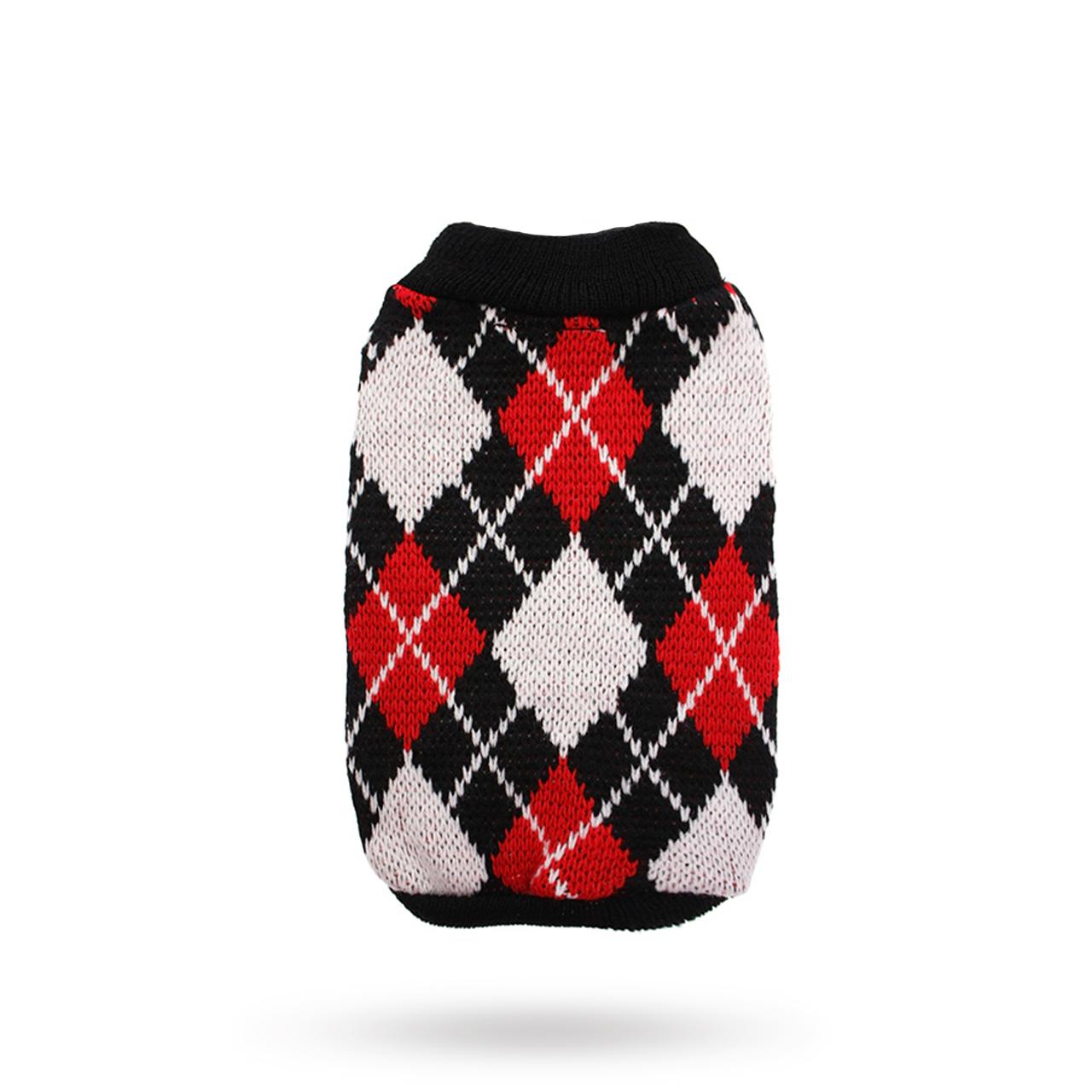 Red & Black Argyle - Stickad Hundtröja