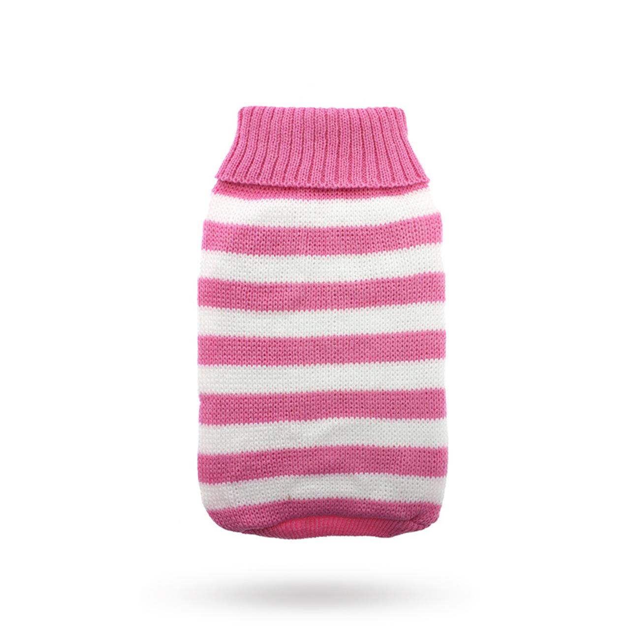 Pink Candy Stripe - Stickad Hundtröja