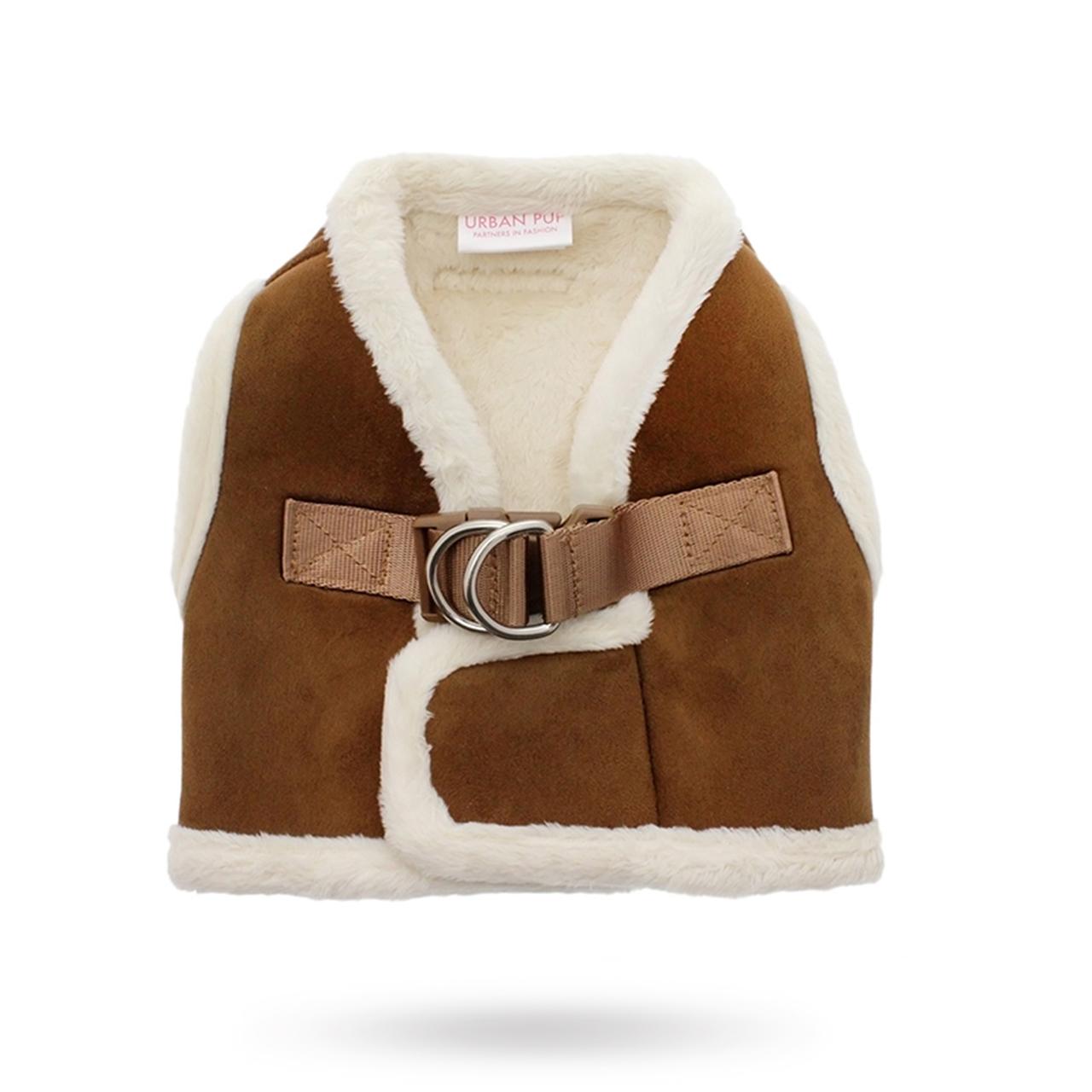Luxury Brown & Cream Faux Shearling Hundsele