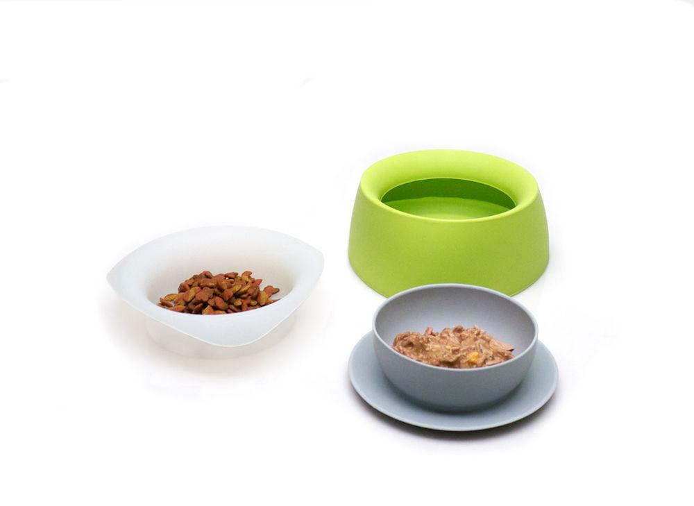 Yummy - 3-i-1 Mat- & Vattenskål Lime - Mat / Godis