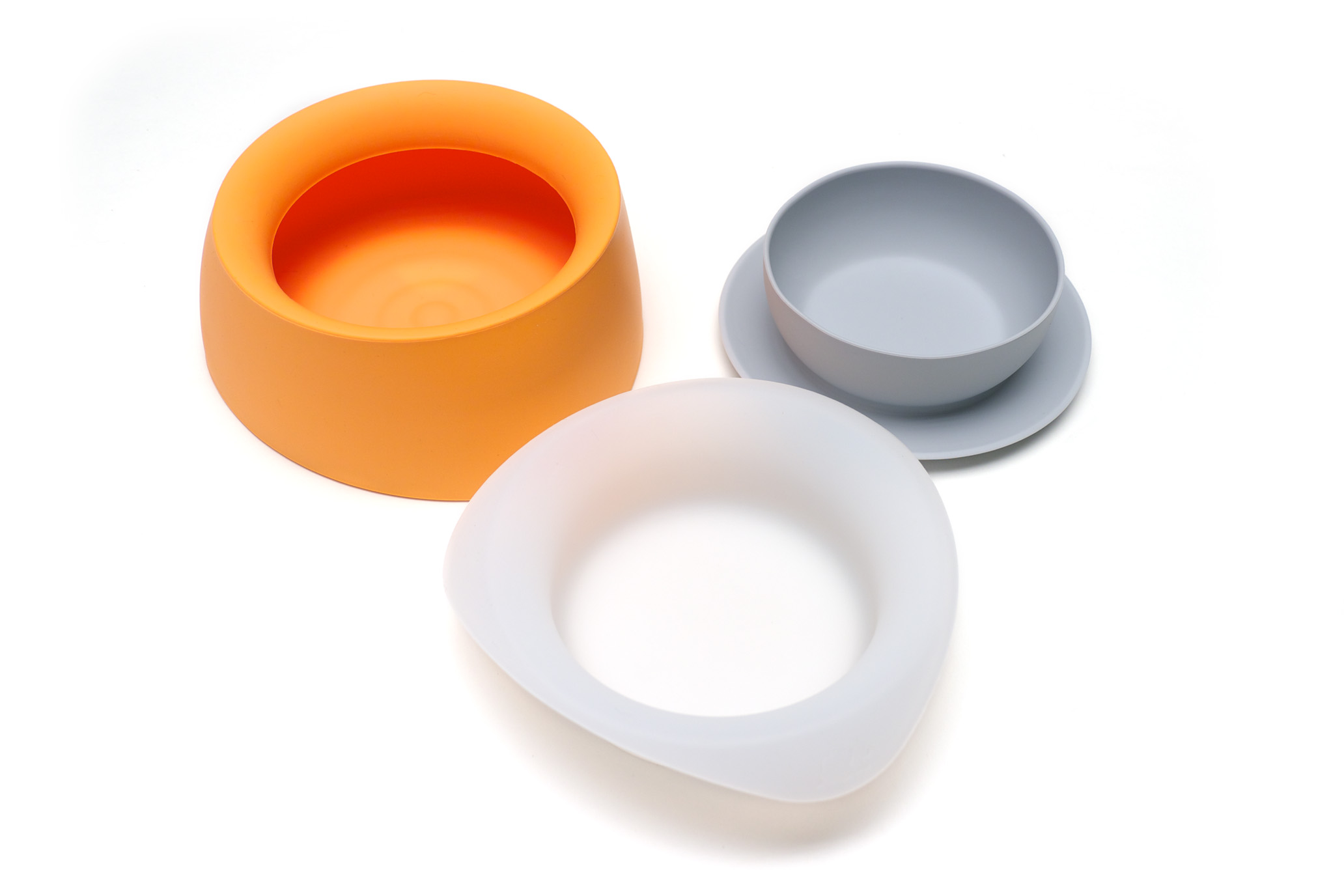 Yummy - 3-i-1 Mat- & Vattenskål - Orange