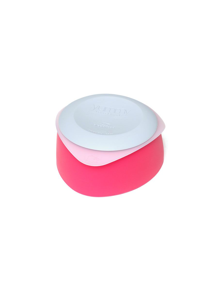Yummy - 3-i-1 Mat- & Vattenskål Rosa - Medium - Mat / Godis