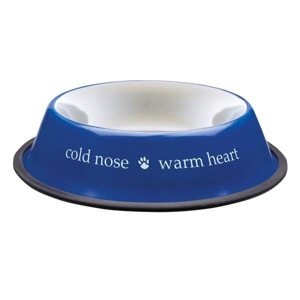Cold Nose Warm Heart - Blå Matskål, Rostfri Stål - Mat / Godis